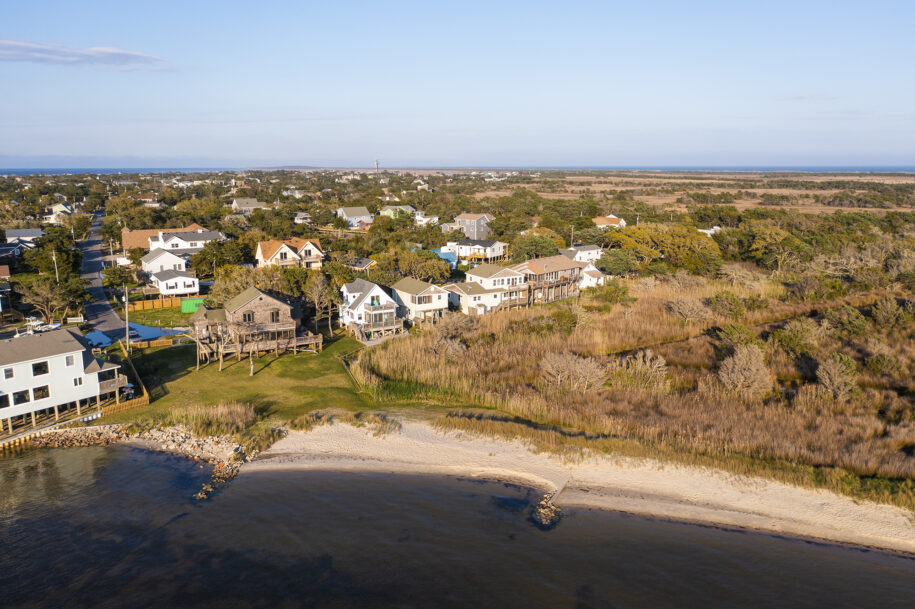 aerial view of cottages from sound